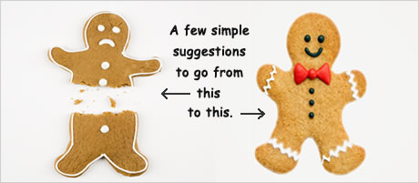 Two gingerbread images with sad and happy faces